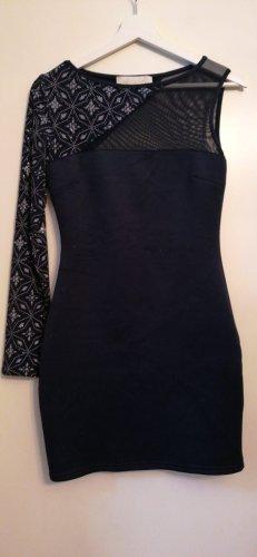 Robe asymétrique argenté-bleu foncé