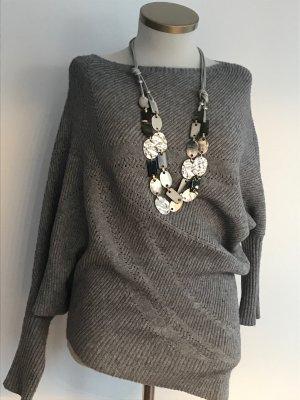 0039 Italy Fine Knit Jumper dark grey-grey