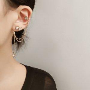 Asymmetrische 14k vergoldet Sternchen Ohrringe Ohrclips Quaste Zirkonia Steinen vintage handgemacht