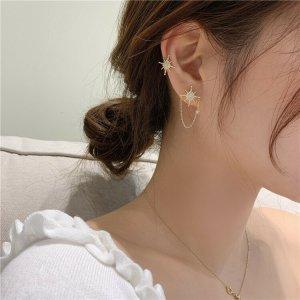 Asymmetrische 14k vergoldet Sternchen Ohrringe Quaste kette Zirkonia Steinen vintage handgemacht neu