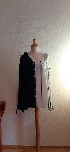 Koszulowa bluzka biały-ciemnoniebieski