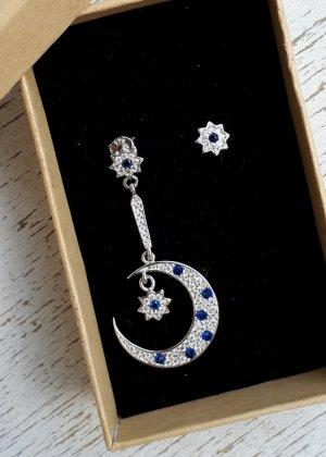 925er Silber Orecchino d'argento argento-blu