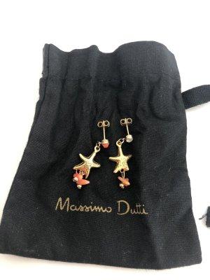 Asymmetrische Ohrringe mit echter Koralle von Massimo Dutti - neu