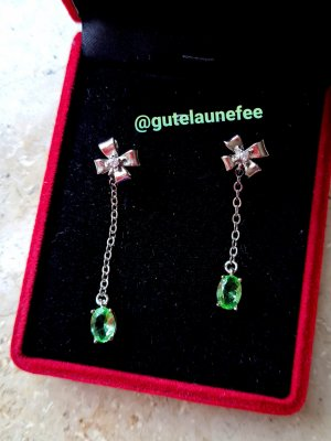 asymmetrische Silber Ohrhänger mit grünen AAA Zirkonia Steinen * 925 Sterling Silber gestempelt