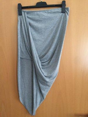 H&M DENIM Asymmetry Skirt silver-colored polyester