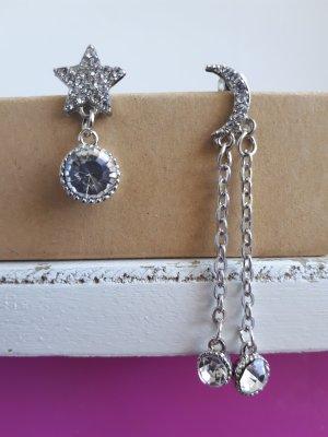 Asymmetrische Vintage Ohrringe Mond Stern 925 Sterling Silber Pin ungetragen