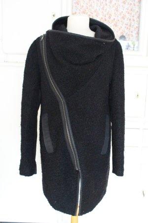 Asymmetrische Wolljacke von Minimum, Gr. 36, schwarz, Persianerlook