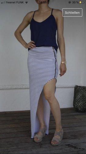 Falda larga blanco-azul oscuro