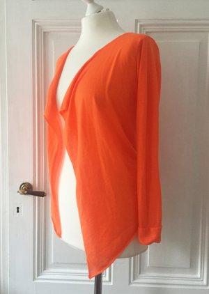 Asymmetrischer Pulli / Cardigan in knalligem neon orange