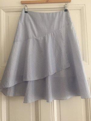 Closed Jupe asymétrique blanc-bleu azur coton