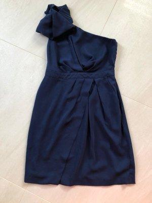 Warehouse Robe de soirée bleu foncé tissu mixte