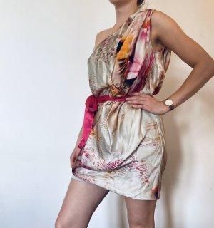 One Shoulder Dress multicolored silk