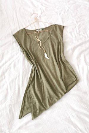 Asymmetrisches Shirt Khaki Grün