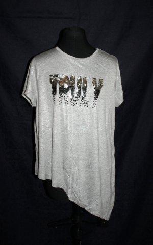 Asymmetrisches Shirt mit Pailleitten-Applikation