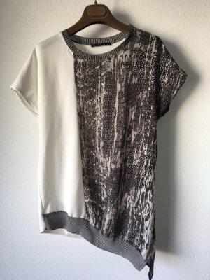 Asymmetrisches Shirt Zara grau weiß S