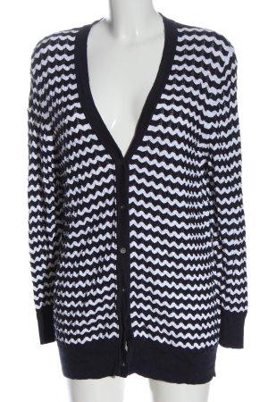 Atelier GS Kardigan biały-niebieski Wzór w paski W stylu casual