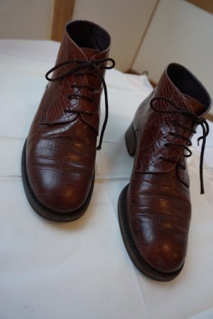 Lace-up Booties brown-cognac-coloured leather