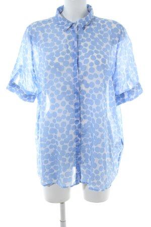 Atelier Gardeur Shirt met korte mouwen blauw-wit gestippeld patroon