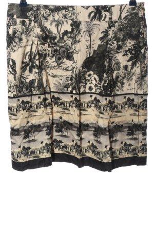 Atelier Gardeur Mini-jupe blanc cassé-noir imprimé allover style classique