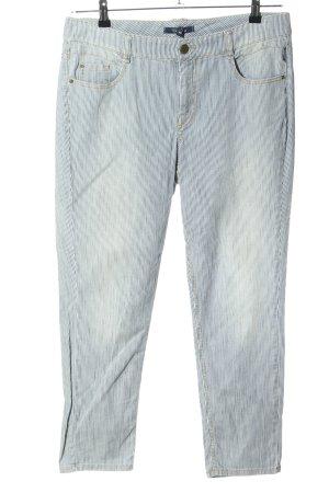 Atelier Gardeur Pantalon en jersey bleu-blanc motif rayé style décontracté