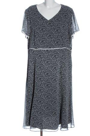 Atelier GS Robe mi-longue blanc-noir motif de fleur style décontracté