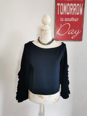 Atelier Handmade Damen Cropped Top Pullover Unikat Marine Größe 38