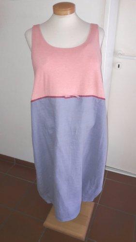 Robe ballon bleu azur-rose clair lin