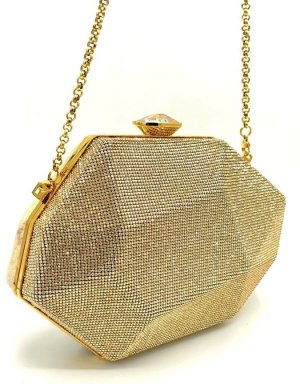 Atelier Swarovski Clutch Gold Kristall Samt Diamant Umhängetasche Luxus