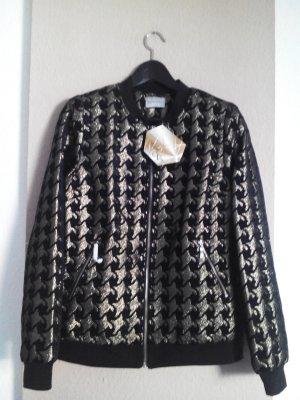 atemberaubende Jacke mit Hanhnenmuster in goldfarben, Größe 36 oversize, neu