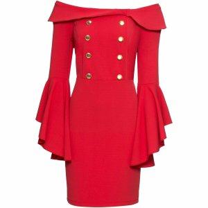 Atemberaubendes Boutique Kleid Abendkleid Carmen Mega Hingucker Blickfang 44 - 46 XXL rot gold Atemberaubendes Kleid Mega Hingucker Blickfang Gr. 44-46 goldfarbene Knöpfe  #Abendkleid #Ball #Gala #Party #gold #goldfarben #rot #red