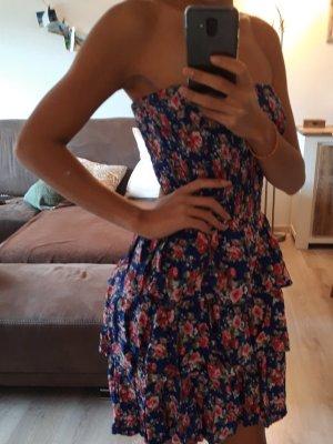 Atmosphere Babydoll Stretch-Kleid, Blau mit Blumenmuster Größe 34