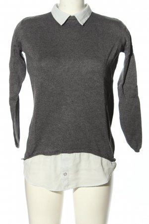 Atmosphere Blouse Collar light grey-white flecked casual look