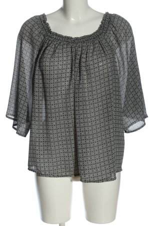 Atmosphere Carmen-Bluse schwarz-weiß abstraktes Muster klassischer Stil
