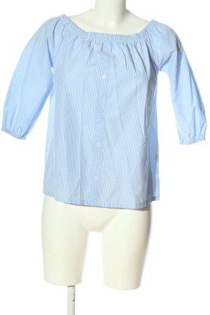 Atmosphere Blouse Carmen bleu-blanc motif rayé style décontracté