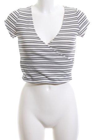 Atmosphere Camicia cropped bianco-nero stampa integrale stile casual