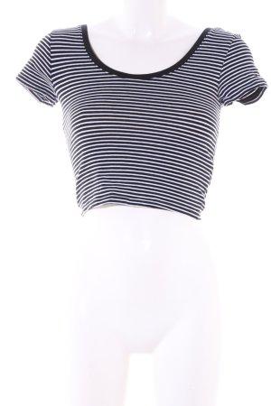 Atmosphere Top corto nero-bianco motivo a righe stile casual