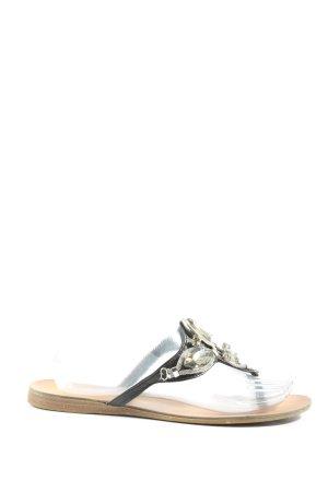 Atmosphere Flip flop sandalen zwart-zilver elegant