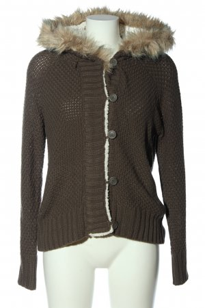 Atmosphere Coarse Knitted Jacket brown-cream cable stitch casual look