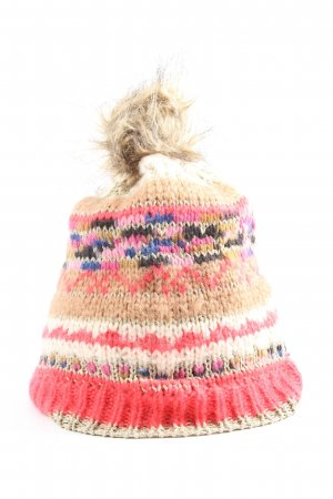 Atmosphere Crochet Cap natural white-pink graphic pattern casual look