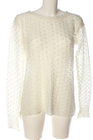 Atmosphere Szydełkowany sweter w kolorze białej wełny Warkoczowy wzór