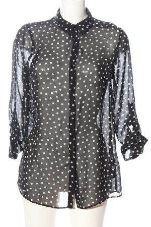 Atmosphere Hemd-Bluse schwarz-weiß Punktemuster Casual-Look