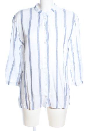 Atmosphere Blouse-chemisier blanc-bleu motif rayé style décontracté