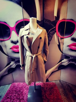 ATMOSPHERE ♥ Hingucker Mantel! Sehr cooler Trenchcoat - tailliert, Gürtel, beige Gr. 34 XS