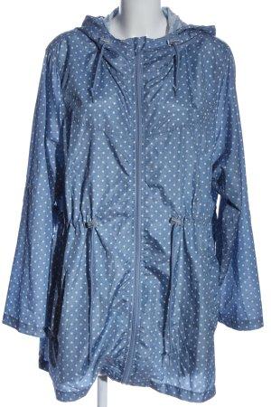 Atmosphere Cappotto con cappuccio blu-bianco stampa integrale stile casual
