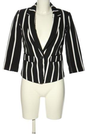 Atmosphere Korte blazer zwart-wit gestreept patroon zakelijke stijl