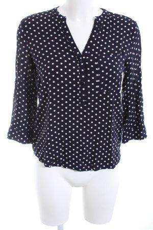 Atmosphere Kurzarm-Bluse schwarz-weiß Allover-Druck Business-Look