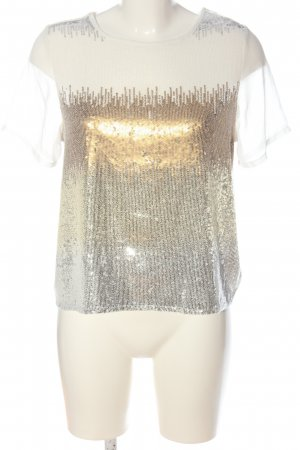Atmosphere Kurzarm-Bluse wollweiß-goldfarben Motivdruck Elegant