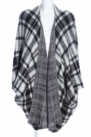 Atmosphere Short Sleeve Knitted Jacket black-white check pattern casual look