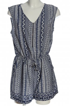 Atmosphere Kurzer Jumpsuit blue-white allover print casual look