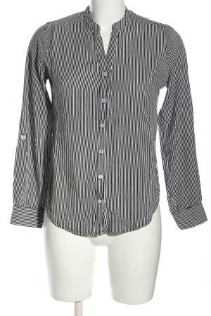 Atmosphere Langarm-Bluse schwarz-weiß Allover-Druck Business-Look